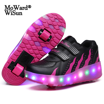 Size 28-43 Roller Skate Shoes for Kids Adults LED Lighted Wheels Sneakers with Double Wheels Children Glowing Roller Sneakers