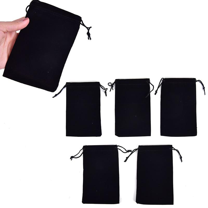 5pcs/lot Black Drawstring Velvet Bags & Pouches Jewelry Bags Gift Packaging Bag Wholesale 15cm X 9.5cm