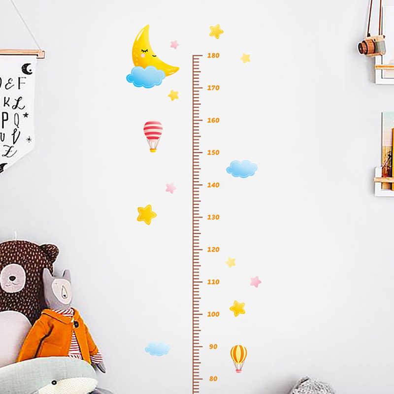 1 adet komik karikatür hayvan müzik çocuk büyüme yükseklik cetvel duvar Sticker için çocuk odası yatak odası yükseklik ölçer çıkartmaları odası dekor