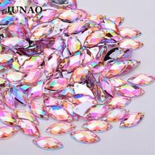 JUNAO 7*15mm 100Pc coser Rosa AB Flatback estrás par coser Ojo de caballo de estrás acrílico apliques de costura ropa de piedras de cristal