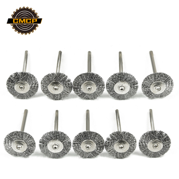 CMCP 10pcs 22mm Polishing Wire Brush Set 3.0mm Shank Stainless Steel/Brass/Nylon for Polishing Grinding For Dremel Rotary Tools 10pcs 22mm brass wire wheel brushes dremel accessories for grinder rotary tools 3mm shank mini drill polishing descaling