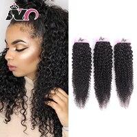 NY волосы 3 шт. кудрявые вьющиеся бразильские волосы пряди натурального цвета 100% натуральные кудрявые пучки волос 8-30 дюймов не Реми волосы дл...