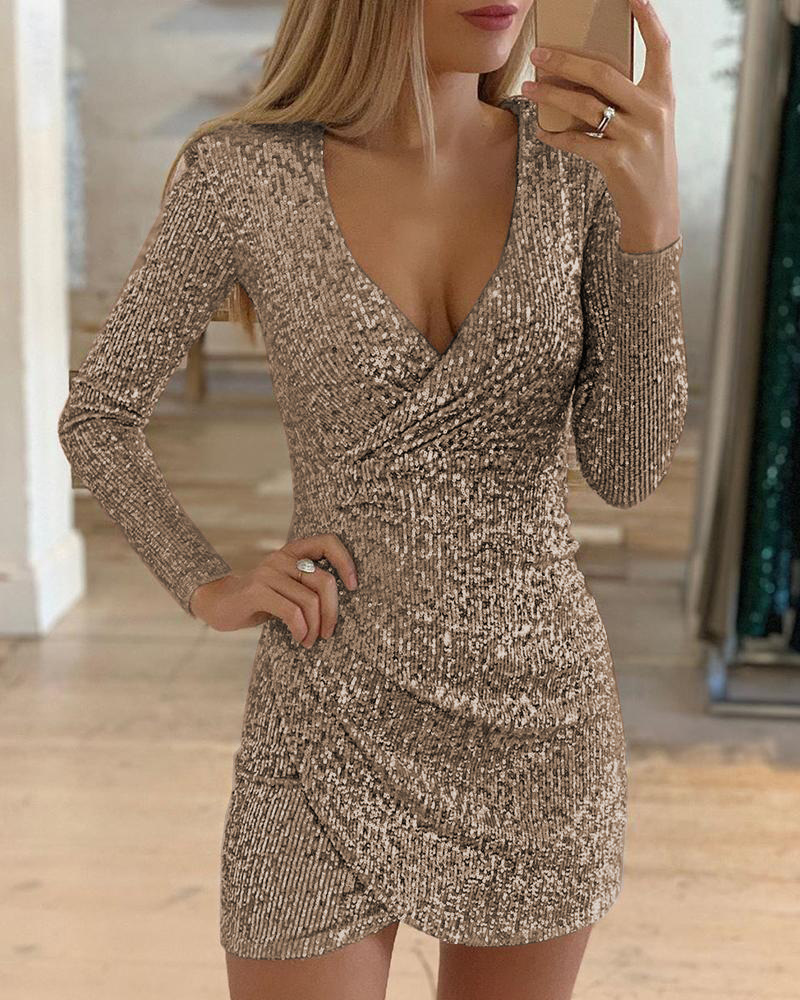 Women Nude Sexy Sequined Bodycon mini dress Women V-neck Self Cultivation Dresses Slim Ladies evening Party Dress