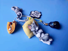 Fashion Cartoon Cat Pendant Key Rings Cute Lying Down and Mouse Chain Car Bag Keychains Jewelry Gift for Couples Friend