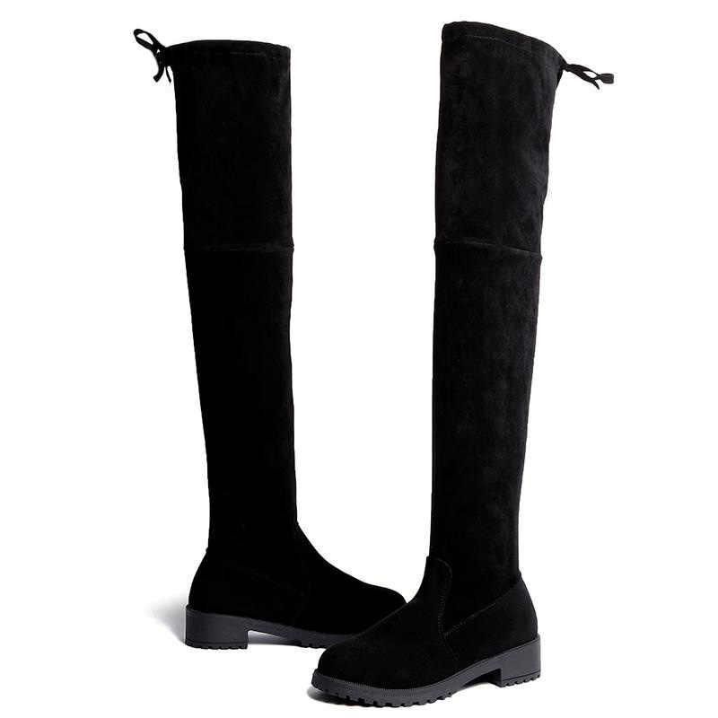 Kadın çizmeler süet over-the-diz çizmeler streç kumaş uyluk yüksek çizmeler bayanlar uzun çizmeler kadın kış ayakkabı botas Mujer