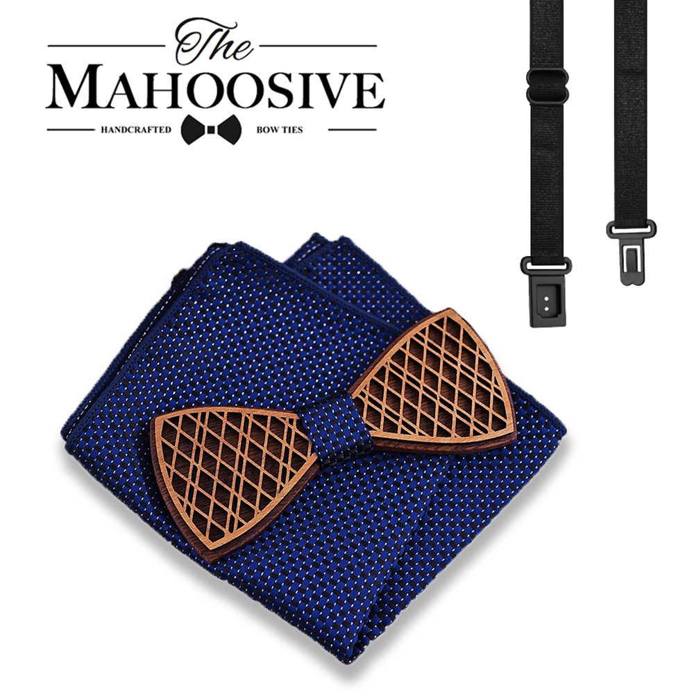 Moda Arco De Madeira Conjunto Gravata Borboleta Do Noivo Homens Partido Arco laços para homens Decoração Modelagem Cavalheiro laços do partido arco empate
