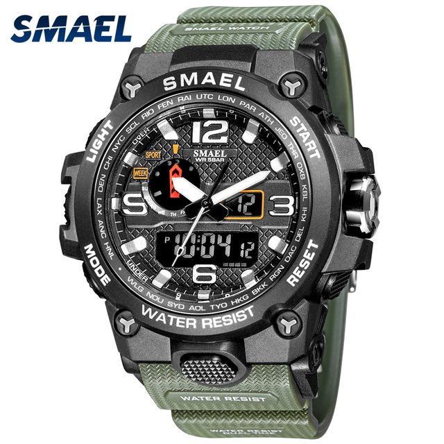 Men Military Watch 50m Waterproof Wristwatch LED Quartz 1