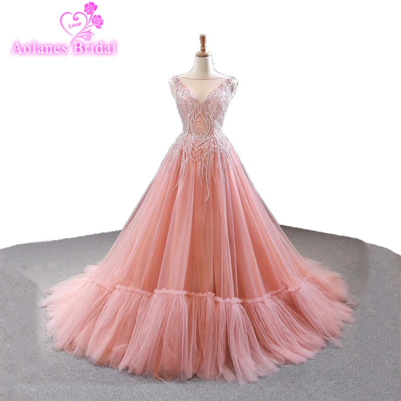 New Desin Beads Top Lace Up Back Puffy Tulle A Line Appliques Prom Dress 2019 New Design Evening Gown Pink Flowers Prom Dresses
