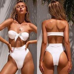 2020 lato Bandeau strój kąpielowy Bikini kobiety Bikini wysokie w talii wiązane stroje kąpielowe kobiet żebrowane strój kąpielowy brazylijski Biquini 2