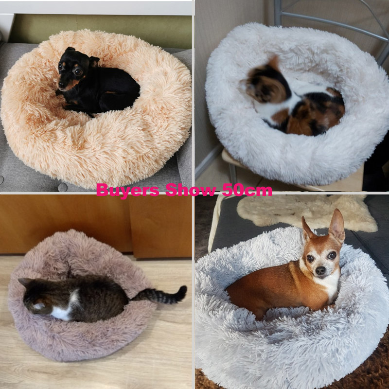 Super Soft Dog Bed Round Washable Long Plush Dog Kennel Cat House Velvet Mats Chihuahua Dog Basket Pet Bed 6