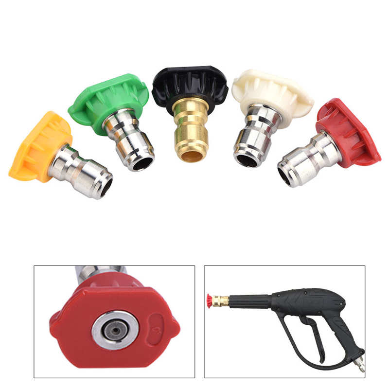 5pcs High Pressure Washer Spray Nozzles Tip Set Variety Degrees For Quick Connect High Pressure Washer Accessories