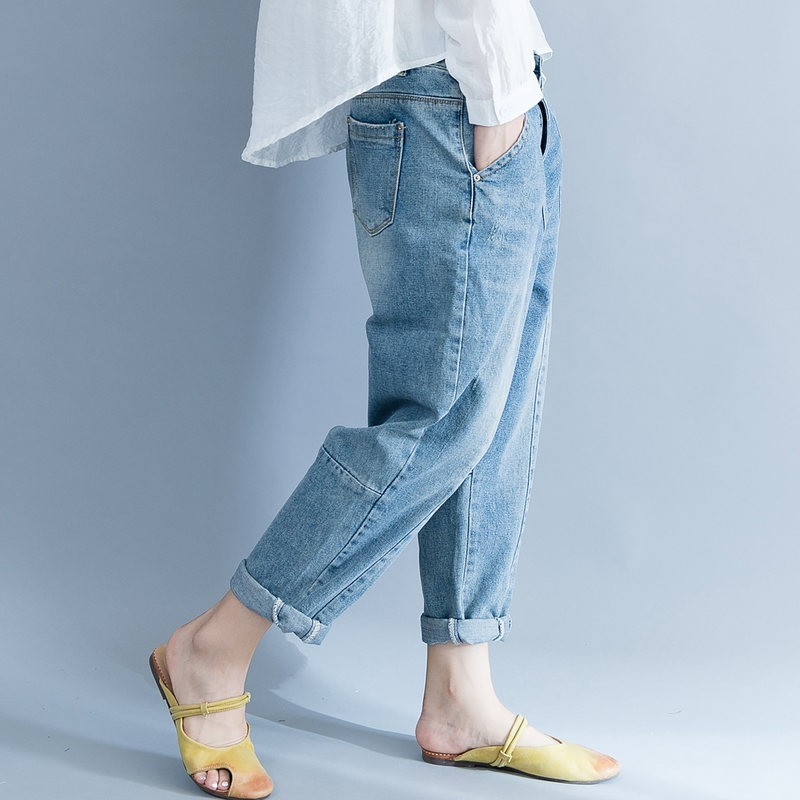 Fashion Casual Women Loose Denim Pants Korean Wash Vintage Harem Pants Cotton High Quality 2020 Spring Plus Size Jeans Female