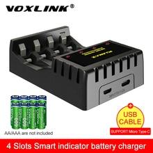 VOXLINK 4 слота Интеллектуальный Индикатор зарядное устройство с защитой от короткого замыкания для 4X AAA/AA литий-ионный аккумулятор NICD