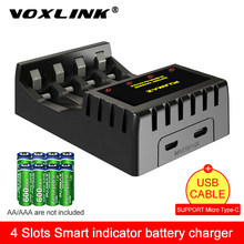 VOXLINK 4 ranura inteligente indicador del cargador de batería con el corto circuito protección para 4X AAA/AA de Litio-ion batería de NICD recargable