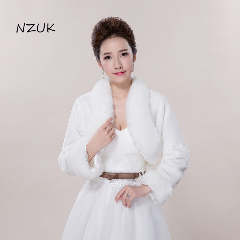 Wedding Wrap Cape Winter Wedding Shawl For Bride White Fax Fur With Crystals Bridal Jackets Wedding Coats PJ055