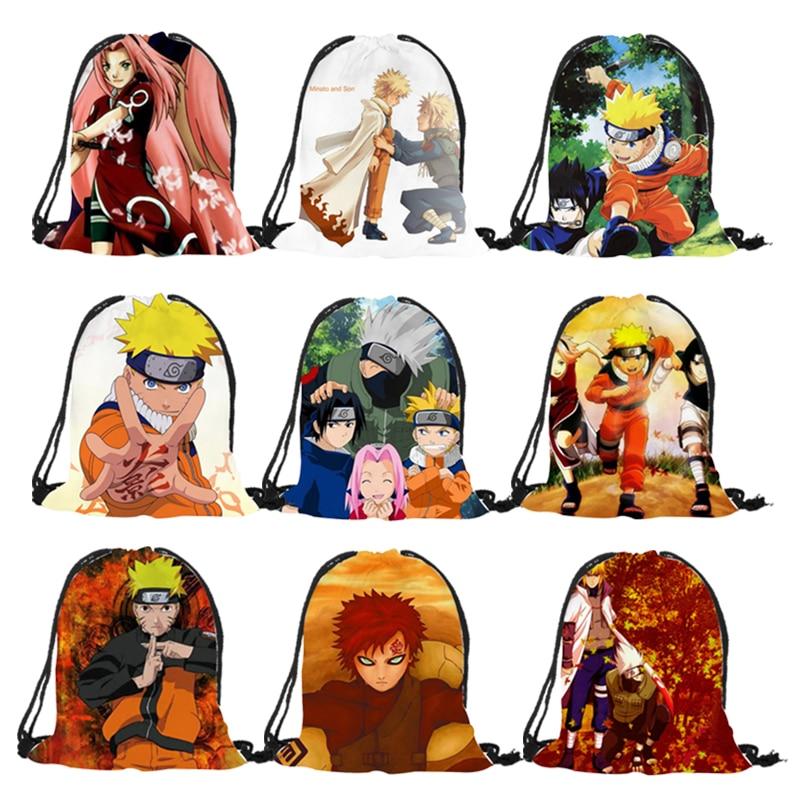 Popular Comic Character Series Naruto Prints Drawstring Backpack Mochila Feminina Boys Casual Polyester Sport Gym Shoulder Bags