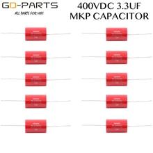 3.3uf 400VDC Audiophiler Axial MKP couplage condensateur qualité Audio pour guitare à lampes ampli haut parleur croisé HIFI AUDIO bricolage