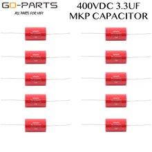3.3uf 400vdc audiophiler axial mkp acoplamento capacitor de áudio grau para tubo guitarra amp alto falante crossover alta fidelidade áudio diy