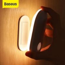 Baseus Novelty LED Night Lights PIR Motion Sensor Light USB Rechargeable Bedside Wall Lamp Smart Home for Kitchen Closet Cabinet