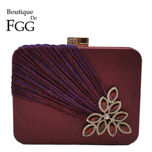 Boutique De FGG Wine Red Crystals Appliques Women Metal Box Clutch Evening Purses and Handbags Bridal Wedding Party Bag