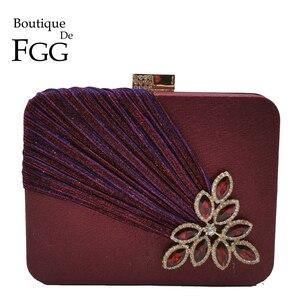 Image 1 - Boutique De FGG Wine Red Crystals Appliques Women Metal Box Clutch Evening Purses and Handbags Bridal Wedding Party Bag