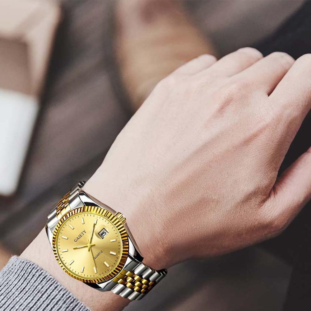 Men watch Gaiety Brand Business Gold Diamond Fashion Calendar Luxury Waterproof Quartz Wristwatch Relogio Masculino 1