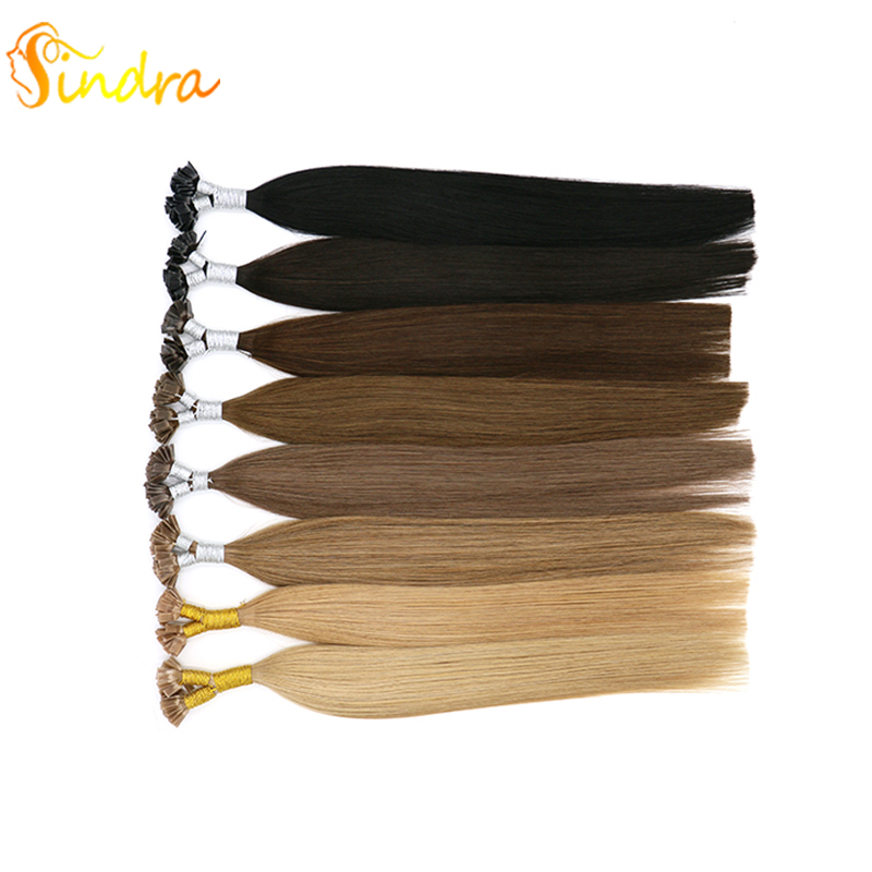 Sindra Human Hair Straight Capsules Keratin Fusion Hair 50g 100g/Pack 100% Remy Hair Pre Bonded Flat Tip Hair Extension