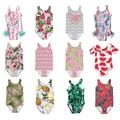 Детский купальный костюм для девочек, Цельный Детский купальный костюм с рюшами, милый купальный костюм с рисунком для маленьких девочек, н...