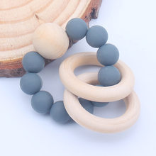 Food Grade Baby Silicone Teether Bracelet Infant DIY Ring Necklace Teethers Toddle Silicone+Wood Chew Charms Kids Teething Toys(China)