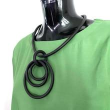 YD & YDBZ-collar con colgante circular para mujer, joya hecha a mano, joyería de goma, cuerda elástica negra, collares de cadenas 2020