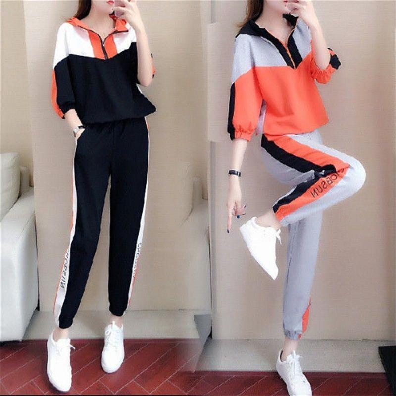 size loose casual suit female 2020 new autumn sports fashion trend hooded midsleeved sweater twopiece suit Women Sports Suit 26