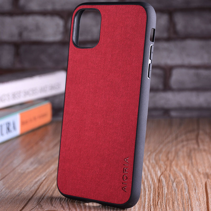 Luxury Textile Leather Skin Soft TPU hard PC Phone Cover for iPhone 11 pro max 3