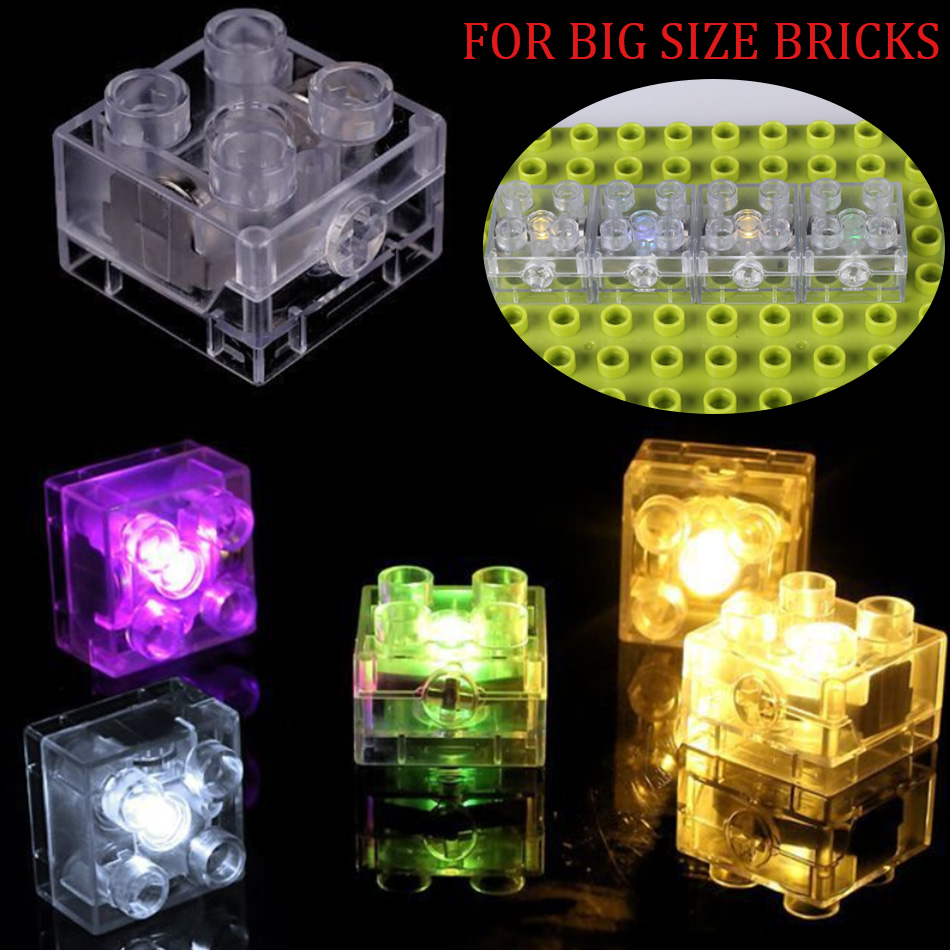 10 20PCS 2x2 dots Big Size LED Light Up Bricks DIY Parts Compatible duploed Base Plate