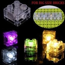 10/20 pces 2x2 pontos tamanho grande led acender tijolos diy peças compatível duploed placa base blocos de construção conjunto brinquedos para crianças
