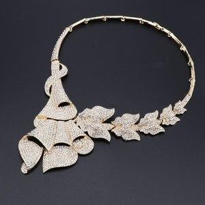 Image 3 - Gioielli di moda Africana Set Costume Delle Donne Nigeriano Wedding Beads Africani Insieme Dei Monili In Oro Dubai Insieme Dei Monili di Cristallo di colore di Disegno