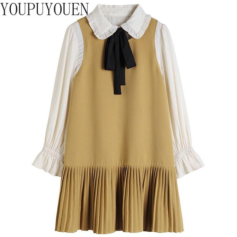 Automne faux 2 pièces ensemble plissé robe élégante automne femmes à manches longues Bow Casaul mode coréenne grande taille 4xl dames robes