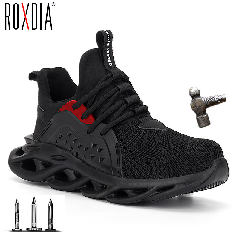 2019 New Steel Toe Cap Men Safety Shoes Work Sneakers Women Boots Plus Size 36-48 Breathable Outdoor Shoe ROXDIA Brand RXM164