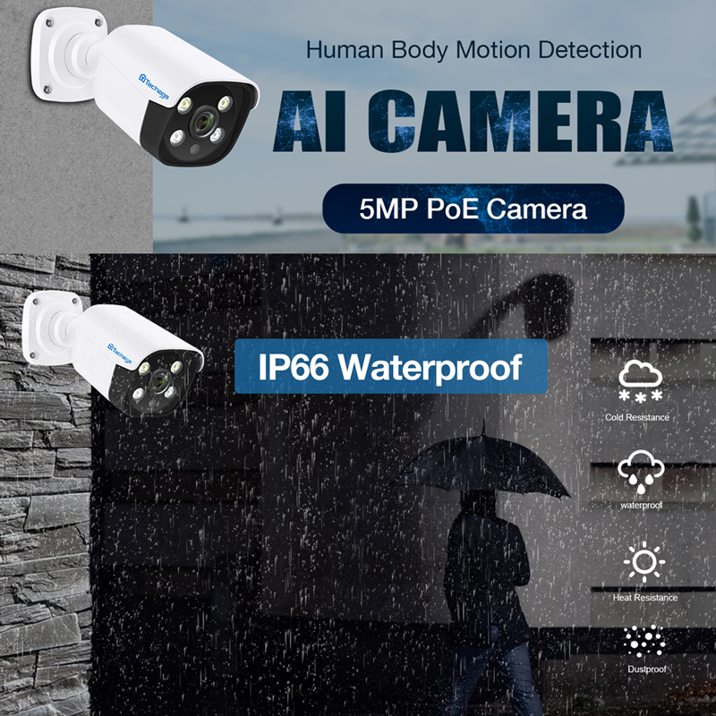 Image 5 - Techage H.265 8CH 5MP POE NVR Kit CCTV System Two Way Audio AI IP Camera IR Outdoor Waterproof P2P Onvif Video Surveillance Set-in Surveillance System from Security & Protection
