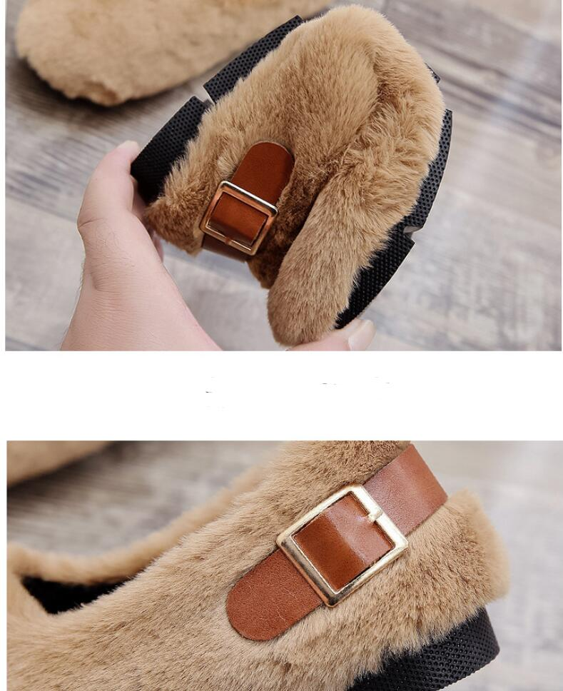 long fur flats women slip on winter shoes with plush flat heel moccasins ladies Belt buckle fur mules designer furry loafers 48