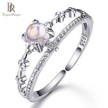 Bague Ringen 100% כסף 925 טבעות נקבה פשוט אופנה אירוסין טבעת עם טבעי מונסטון חן תכשיטים מתנה