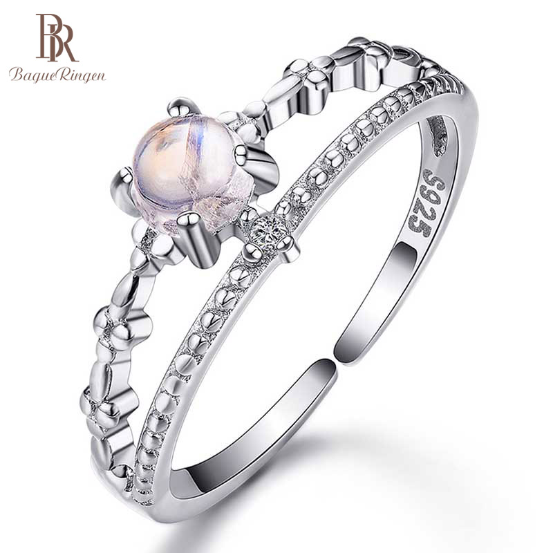 Bague Ringen 100% Silver 925 Rings Female Simple Fashion Engagement Ring With Natural Moonstone Gemstone Fine Jewelry Gift