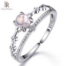 バゲ Ringen 100% シルバー 925 リング女性シンプルなファッション婚約自然ムーンストーン宝石ファインジュエリーギフト