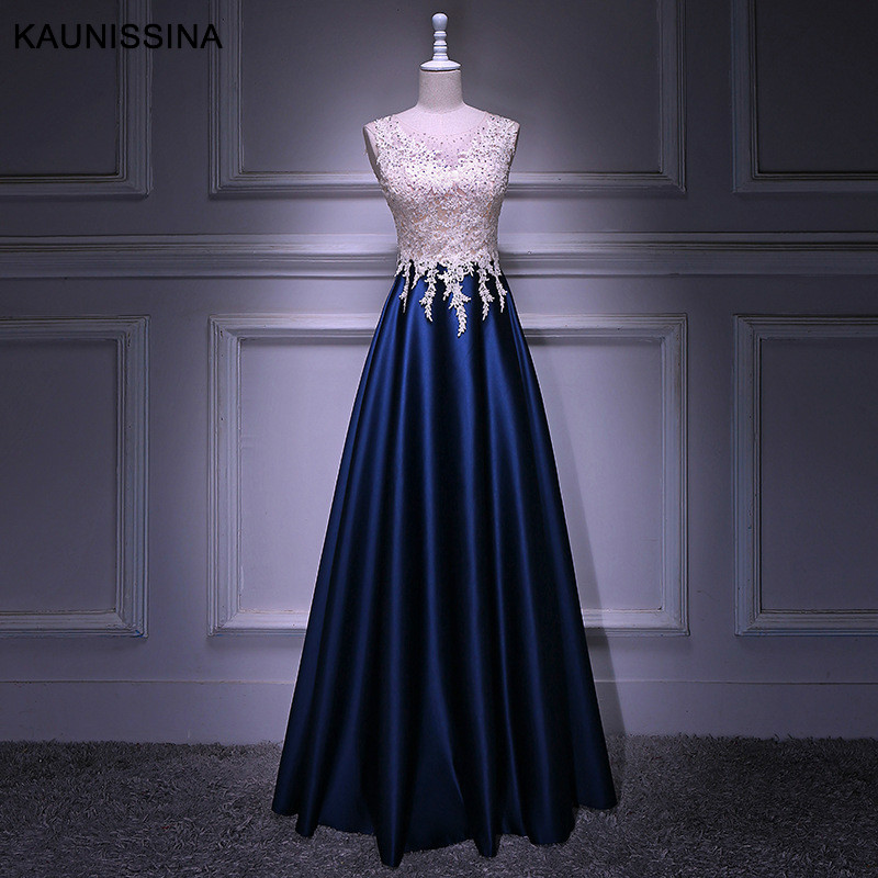 >KAUNISSINA Woman <font><b>Evening</b></font> Party Ceremony Dresses Long Dress O Neck Lace Satin Beading Floor Length Prom <font><b>Gown</b></font> Real Photo Vestido