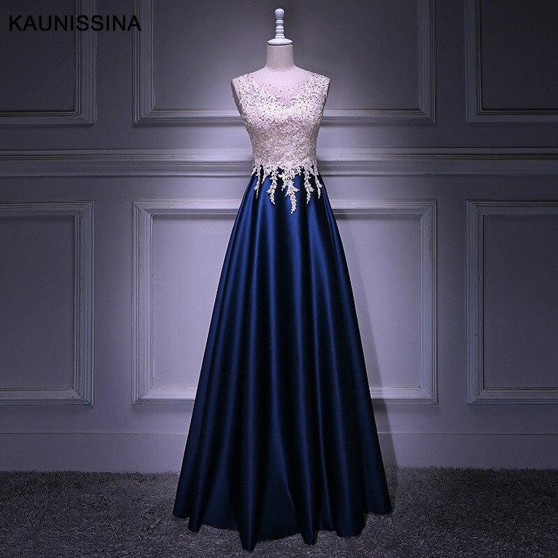 KAUNISSINA femme soirée fête cérémonie robes longue robe O cou dentelle Satin perles étage longueur robe de bal vraie Photo Vestido