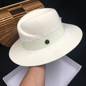Image 5 - Yaz moda m fedoras beyaz kadın şapka yüksek kaliteli dantel güneş gölgeleme güneş koruyucu yün Panama