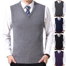Men Sleeveless Sweater Vest Male Autumn Spring Cotton Casual Winter Solid Color V Neck Sleeveless Knitted Woolen Plus Size Vest