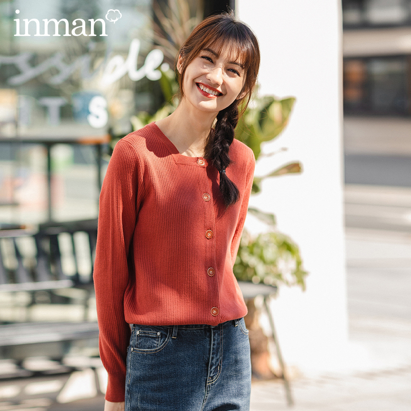 INMAN 2020 Spring New Arrival Literary Retro Style Solid Color Square Collar Single Breasted Basic Style Women Cardigan Sweater