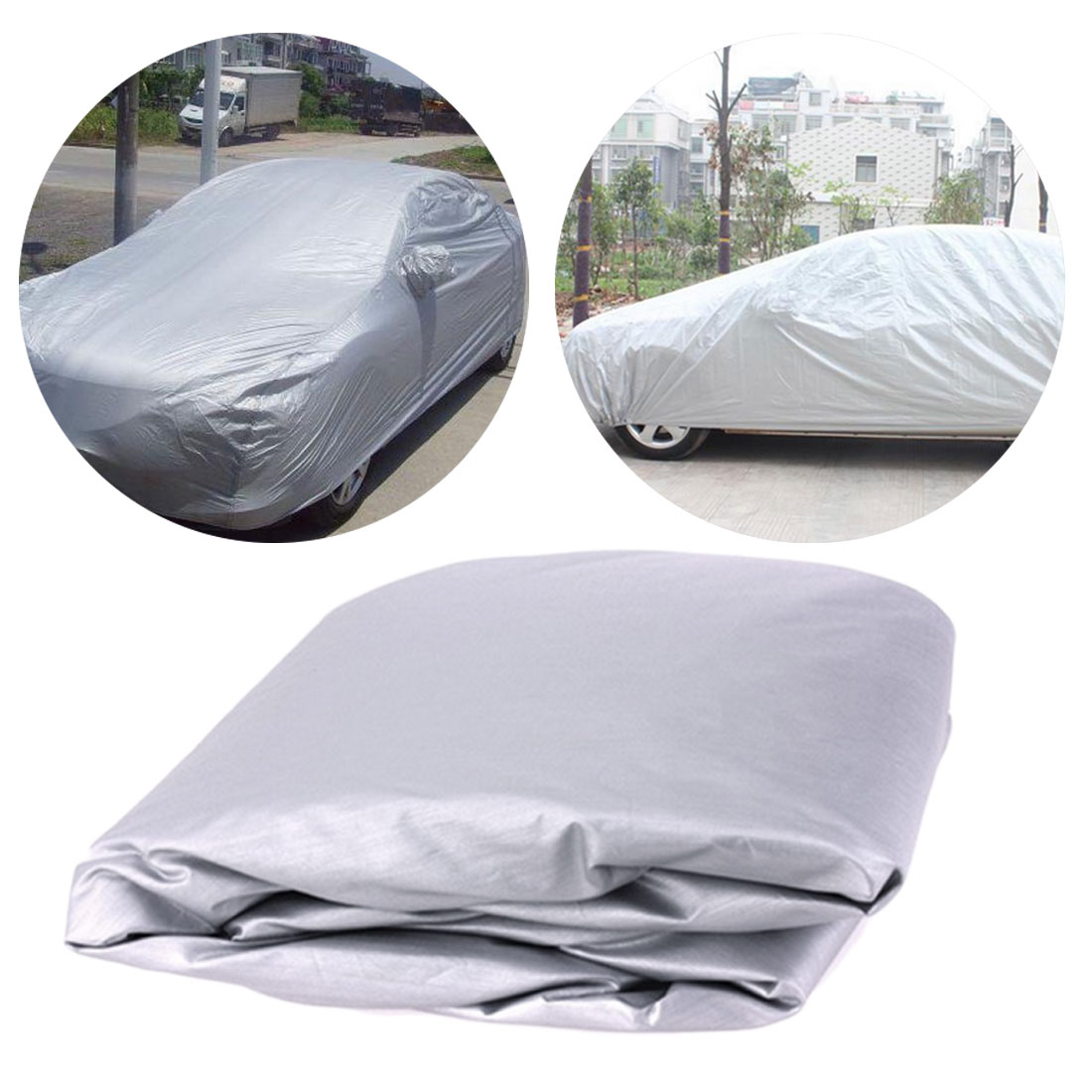 Car Silver Cover M/L/XL SUV Protection cover Breathable Outdoor Indoor Snow Ice Sun Rain Resistant For All Season All Weather image