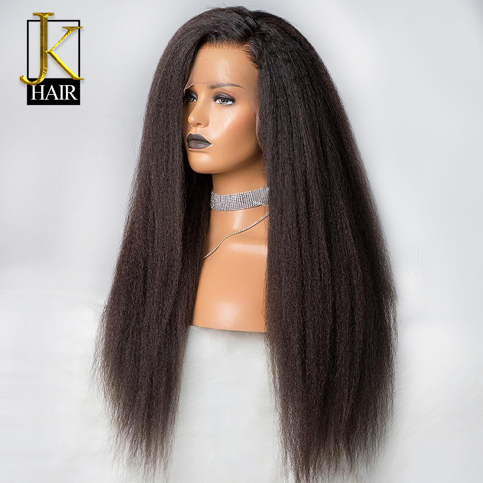 13*4 Kinky Straight Wig Lace Front Human Hair Wigs For Women Natural Black Remy Brazilian Bleached Knots JK Elegant Queen