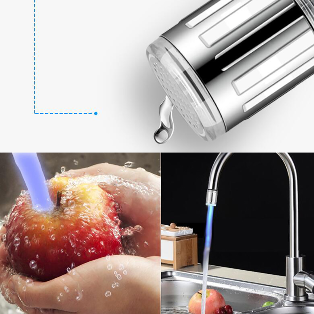 3/7 Color Change Kitchen LED Light Shower Head Water Bath Home Bathroom Glow Shower Head Adapter Faucet Filter Tap Head RGB Glow